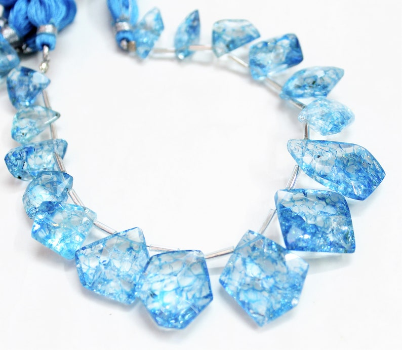 Jewelry Making uneven Crystal Quartz Fancy Loose Beads 8 inch Natural Sky Blue Crack Crystal Faceted Nugget Beads Briolette
