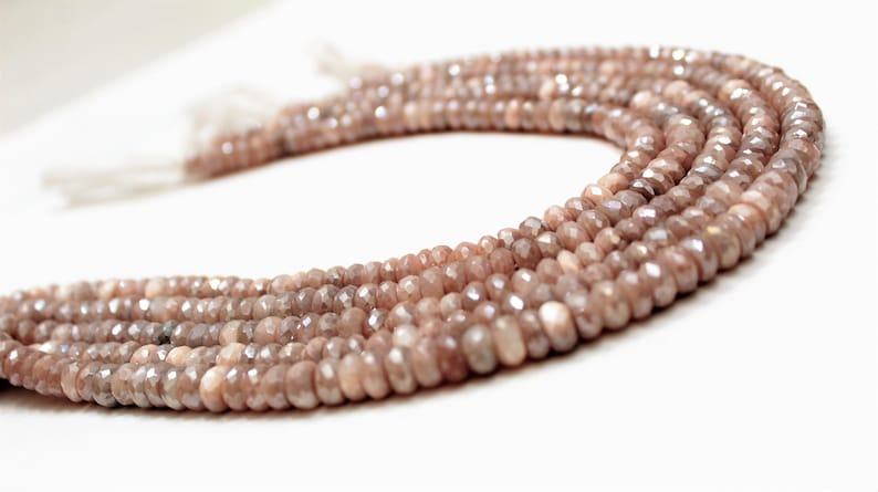 168 inch 5 Strand Lot  Mystic PEACH Moonstone Faceted Rondelle loose gemstone beads 8mm to 10mm beaded jewelry