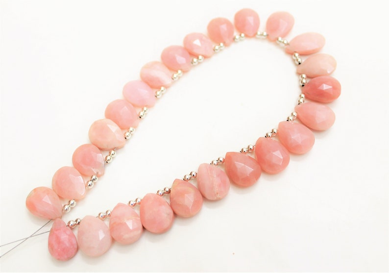 25 Pieces Pink Opal Faceted long Heart shape 14 mm to 17 mm  briolettes loose gemstone beads,opal gemstone for jewelry,