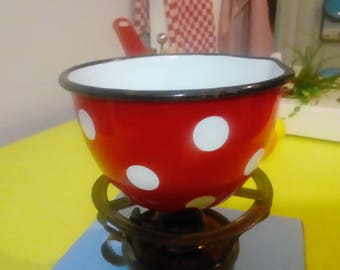 Pretty little pot bright red enamel with white polka dots, kitchen decor shabby chic, vintage
