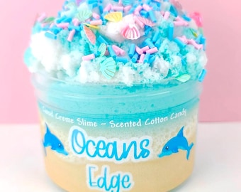 Oceans Edge ~ soft/fluffy/Drizzle cloud creme slime sprinkles ~ Slime Shop ~ Scented Slime