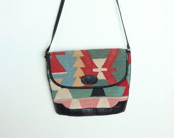 42a4ae01d00 Vintage handmade leather Kelim bag