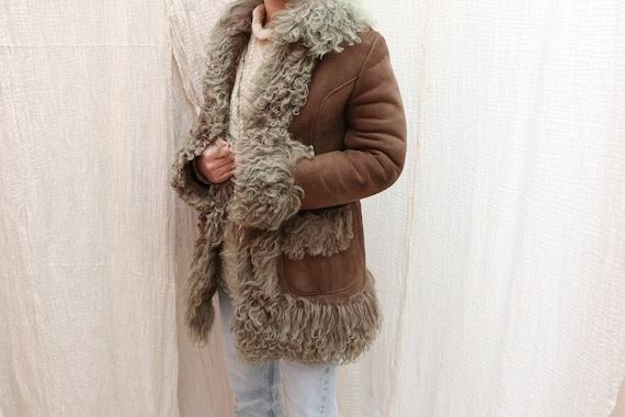 1970's Vintage sheepskin suede coat / 1970's Vinta