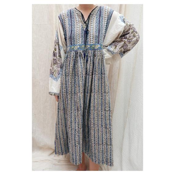 1970's Vintage Indian cotton midi dress / 1970's I