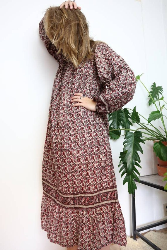 Vintage Indian block print cotton bohemian midi dr