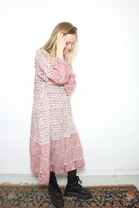 1970's Vintage Indian cotton bohemian floral midi