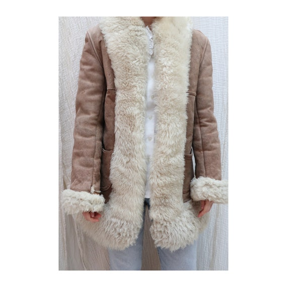 1970's Vintage sheepskin suede winter coat / 1970'