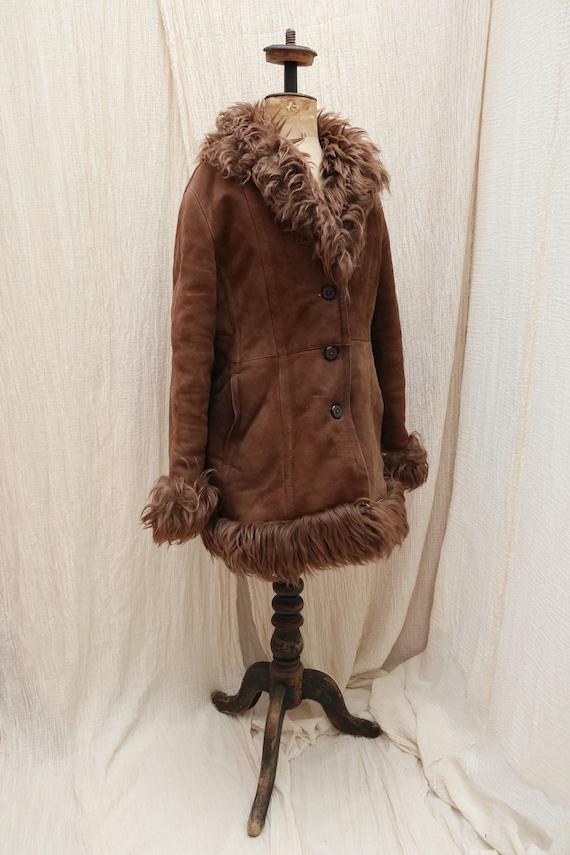 1970's Vintage sheepskin winter coat / 1970's Vint