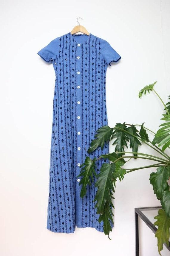 Vintage linen Banjara/Afghan embroidered blue maxi