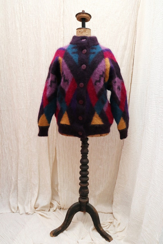 Vintage colorful mohair wool knitted sweater / Vin