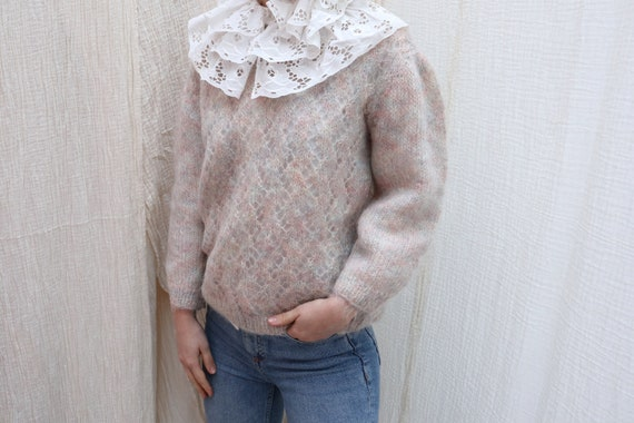 Vintage fluffy pastel mohair wool knitted jumper /