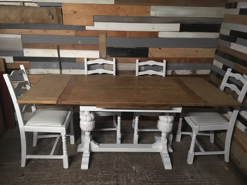 Fine Shabby Chic Oak Extending Draw Leaf Kitchen Dining Farm House Table And 4 Oak Chairs Creativecarmelina Interior Chair Design Creativecarmelinacom