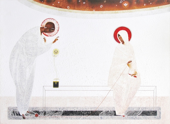 Shroud of Christ made by Ivanka Demchuk original print on natural canvas and stretcher of modern icon