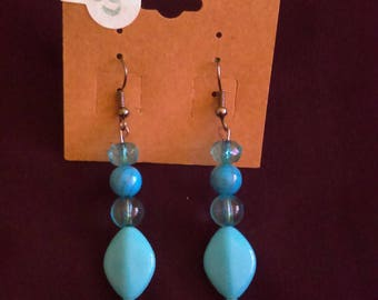 Light blue diamond drop earrings