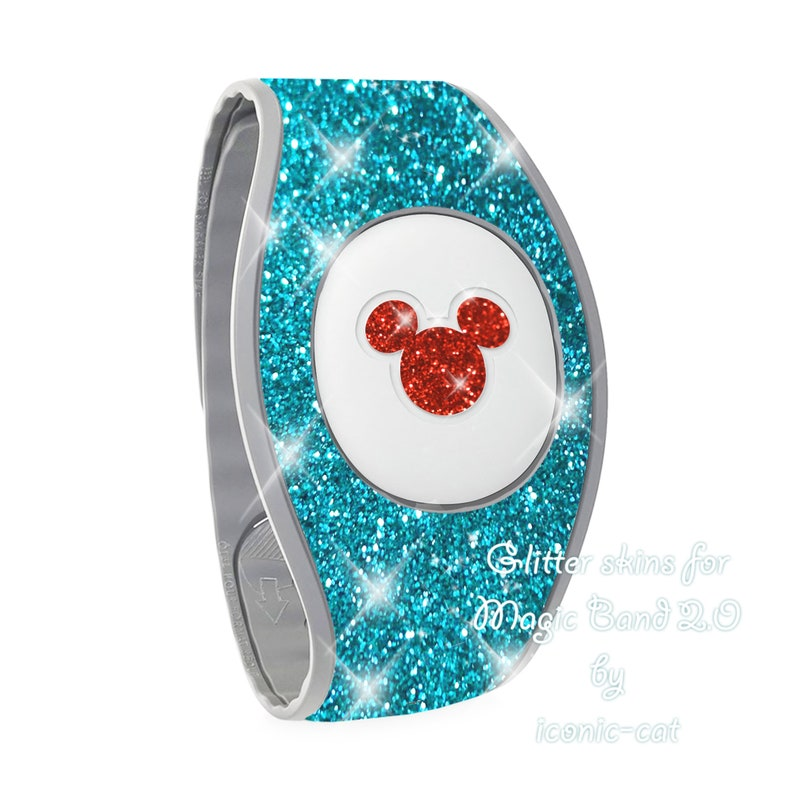 neon pink for magic bands 2 Sparkly dark teal glitter skins for magic band 2.0  teal rose gold decal stickers blue Magicband decals