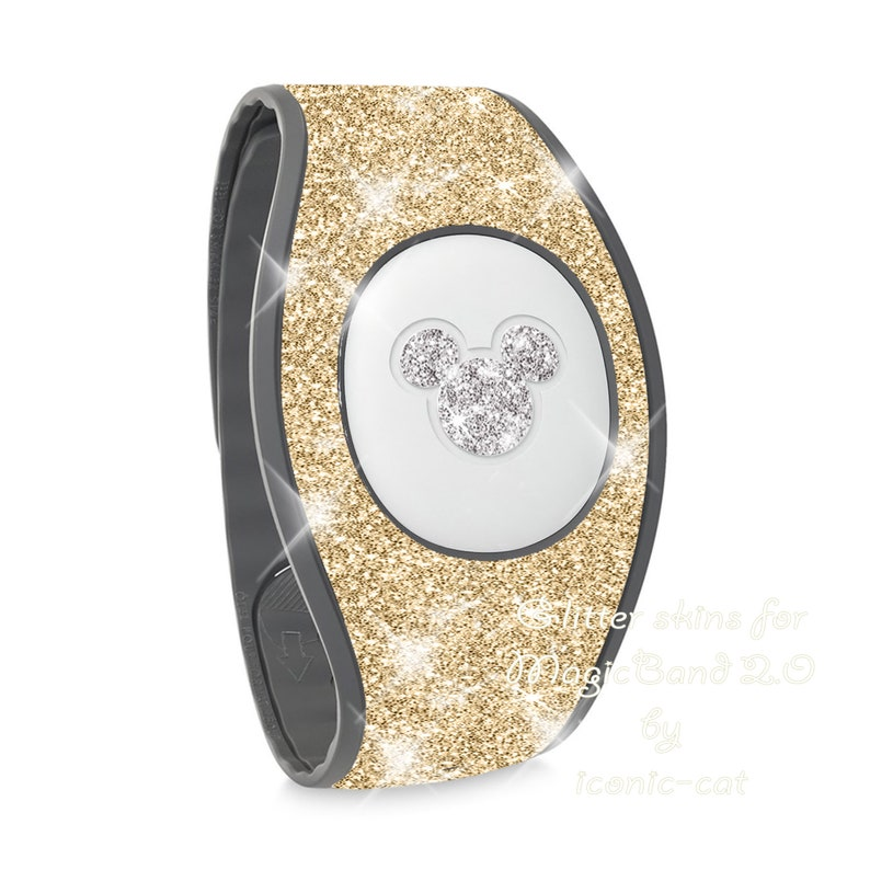 rose gold decal stickers Magicband skin decals for magic bands 2 pink Sparkly gold glitter wrap  skins for magic band 2.0  teal blue