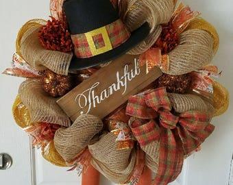 Turkey Wreath-Thanksgiving Wreath-Thankful Wreath-Deco Mesh Wreath-Fall Wreath-Front Door Wreath-Home Decor-Burlap Wreath