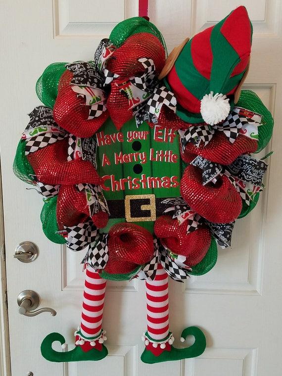 Red White Green Elf Wreath Christmas Mesh Wreath Elf Door Wreath Holiday Front Door Wreath
