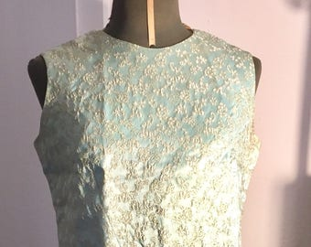 1950 Vintage Tailored dress brocade blue composed of top and skirt