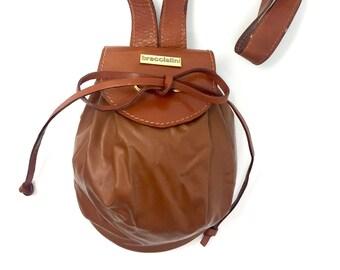 Braccialini Vintage kleine Eimer Tasche/Schultertasche Leder Made in Italy