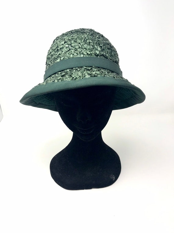 Vintage green straw hat woman cloche 60s sun summ… - image 5