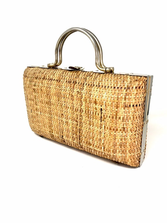 Vintage straw bag rattan wicker raffia midollino 6