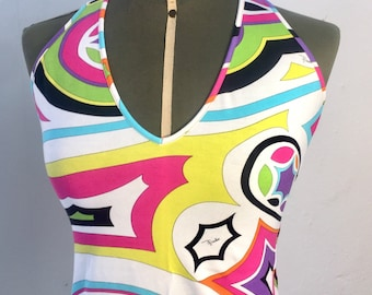 Emilio Pucci Top/tank top with cross neckline on the back, classic Pucci print, cotton