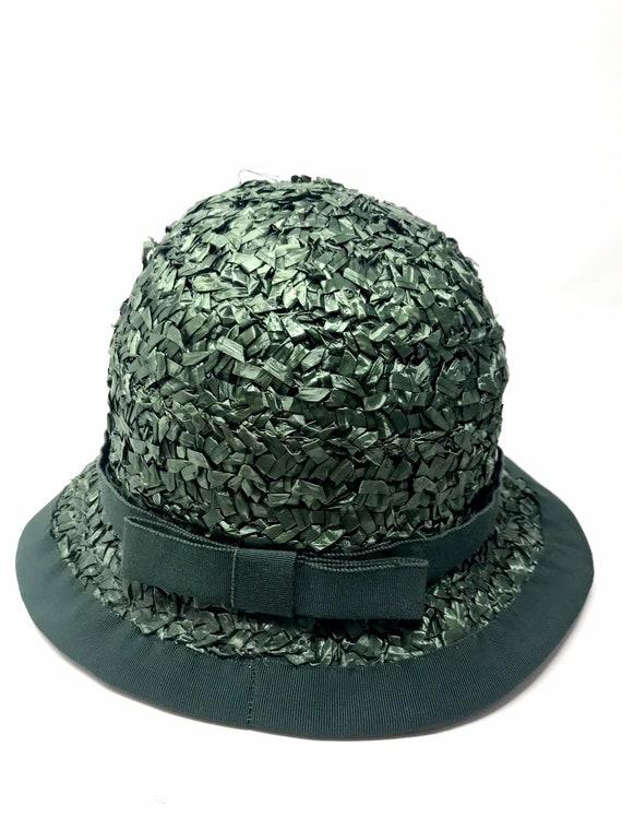Vintage green straw hat woman cloche 60s sun summ… - image 7