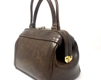 1960 Vintage Bag Doctor bag with faux leather handles