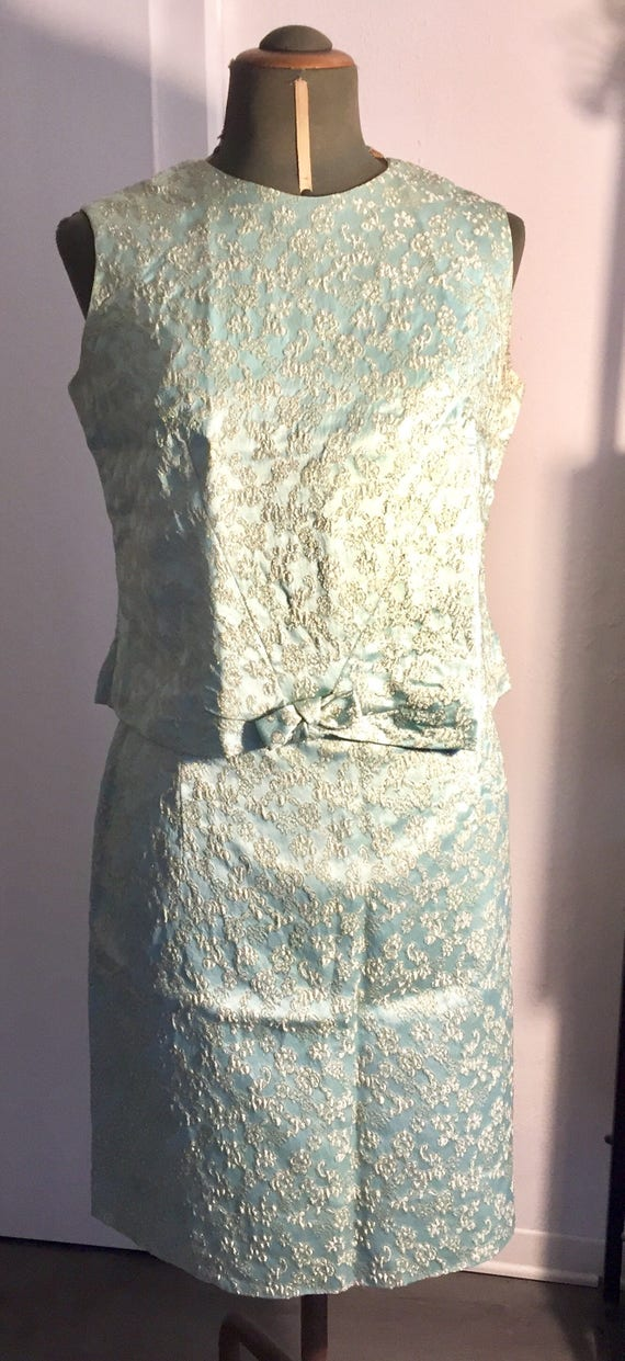 Vintage brocade dress lurex mod blue top skirt sui