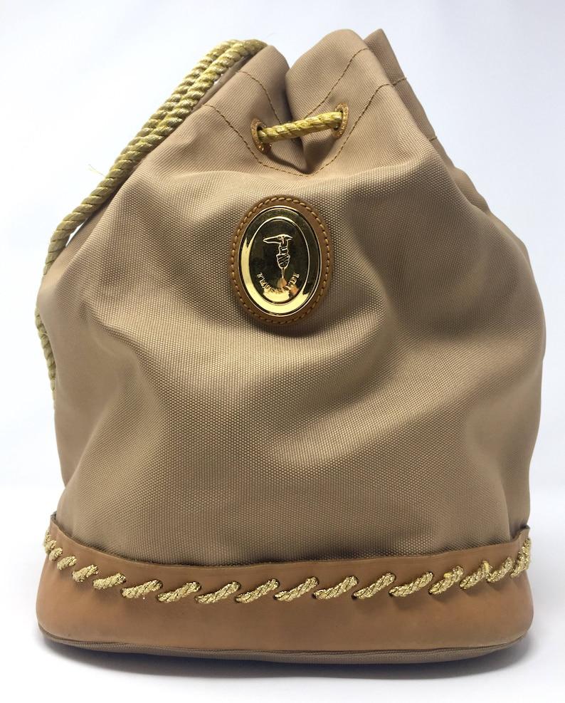 f88b5bd9dc Trussardi borsa vintage borsa secchiello in tela con dettagli   Etsy