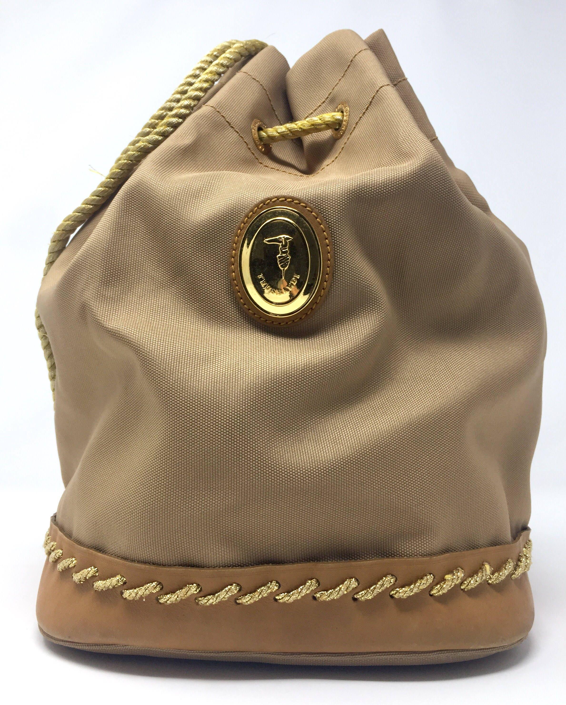 Trussardi vintage anni 90 borsa secchiello a spalla in tela  675828be0a48