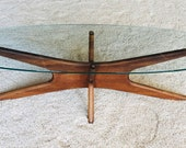 Adrian Pearsall Mid-Century Modern Walnut and Glass Elongated quot Jacks quot Coffee Table