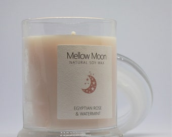 Rose & Watermint Candle / Soy Wax / Hand Poured / Home Fragrance Easter Spring Gift.