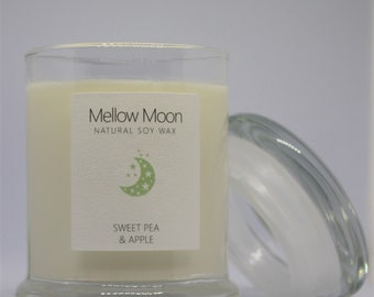 Sweet Pea & Apple Soy Candle hand poured vegan friendly spring easter Gift.