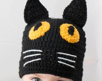 Crochet Baby Hat, Black Cat Beanie, Toddler Hat, Adult Beanie, Black cat, Animal Hat, Handmade Hat, Toddler Beanie