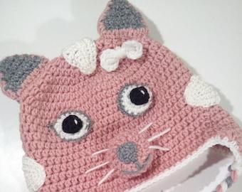 Pink Kitty Cat Hat, Cat Hat, Crochet Baby Hat, Crochet Beanie, Earflap Hat, Handmade Hat, Toddler Hat, Animal Hat, Birthday Gift Hat