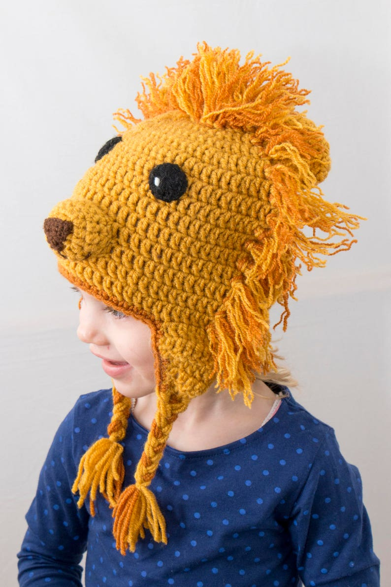 d0fc1372a96 Crochet Lion Hat Crochet Beanie Toddler Hat Animal Hat