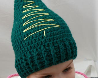 Crochet Christmas Hat, Christmas Tree Hat, Crochet Baby, Kid's Hat, Handmade Christmas Hat, Festive Hat, Christmas Gift, Photo Prop