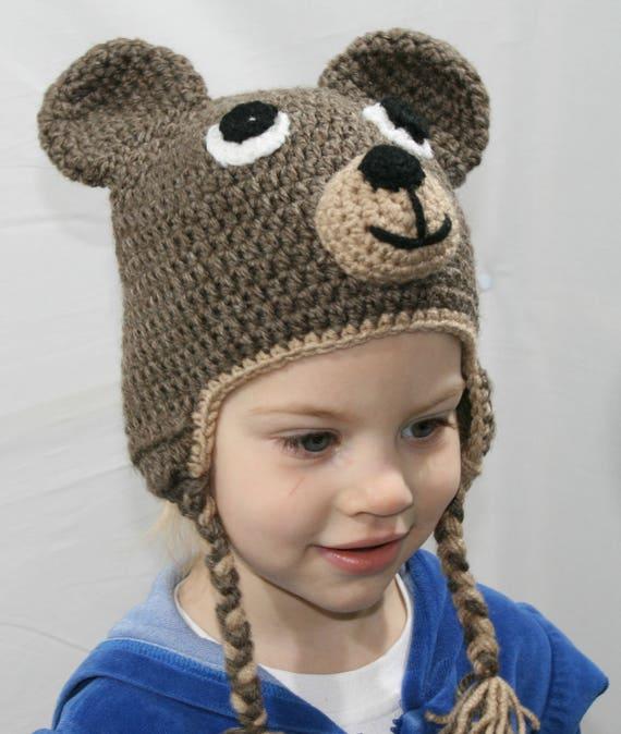Teddy Bear Hat Crochet Bear Beanie Earflap Beanie Crochet  518434d6bbc4