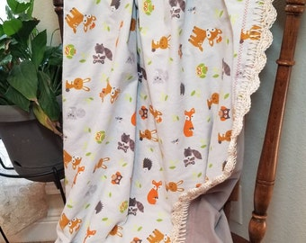 Woodland Animals with Fox and Owls Baby Blanket