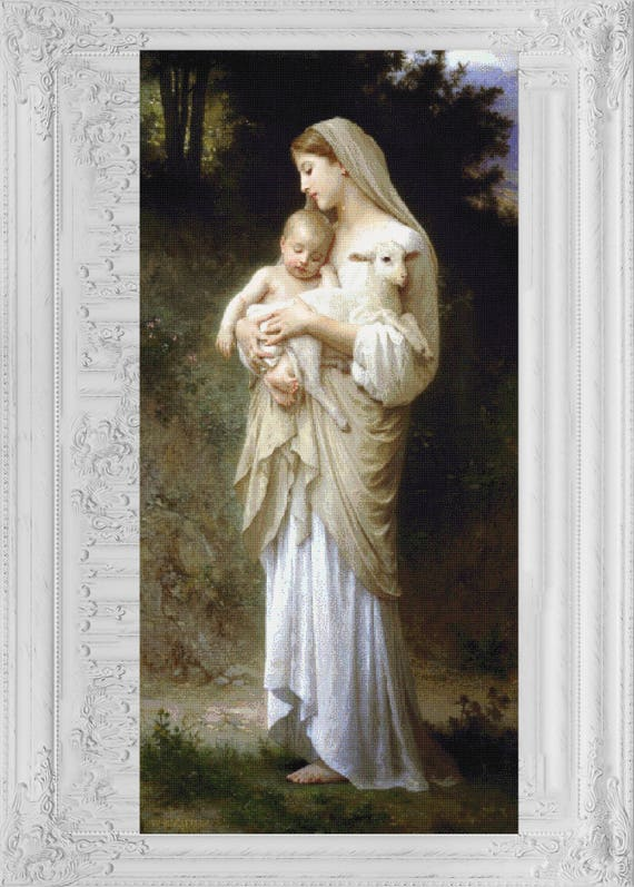 cross stitch pattern counted cross stitch printable pdf-Pattern without lonely crosses Infant Jesus and Virgin Mary  licencja CC0