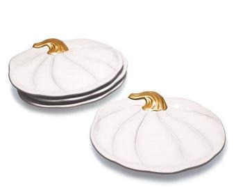 Elegant White Pumpkin Plates Set of 4 - FREE SHIPPING Perfect for Entertaining