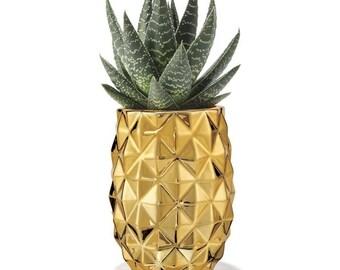 Pineapple Planter - Gold Metallic Ceramic Planter - Perfect Decorative Accent