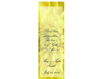 Yellow Elegance Wedding Bookmarks - Thank You Bookmark Favors (50 minimum.)