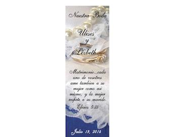 Something Blue Wedding Bookmark Favors - Thank You Bookmarks (50 minimum.)