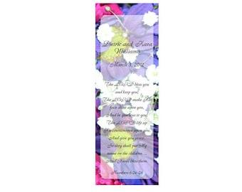 Multi Floral Wedding Bookmark Favors - Thank You Bookmarks (50 minimum.)