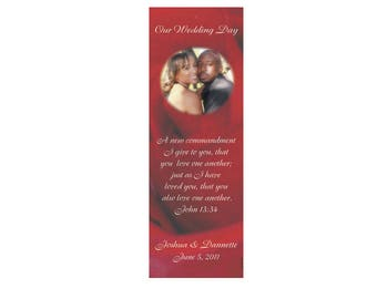 Red Rose Wedding Bookmarks - Thank You Bookmark Favors - Rose Bookmark, Photo Bookmark (50 min.)