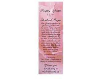 Marveled Pink Wedding Bookmark Favors - Thank You Bookmarks - Pink Bookmarks (50 minimum.)