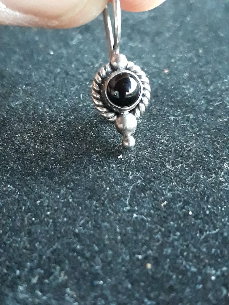 Sterling silver and black onyx dangle earrings vintage